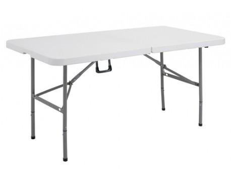 """Table pliante """"valise"""" PVC blanche 1.52cm"""