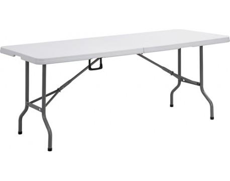 """Table pliante """"valise"""" PVC blanche 1.83cm"""