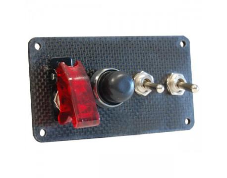 Console de démarrage moteur Carbone double interrupteurs