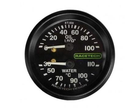Manomètre de pression d'huile et température d'eau Racetech