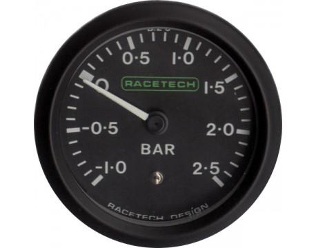 Manomètre de pression de turbo -1 / +2.5b blanc Racetech